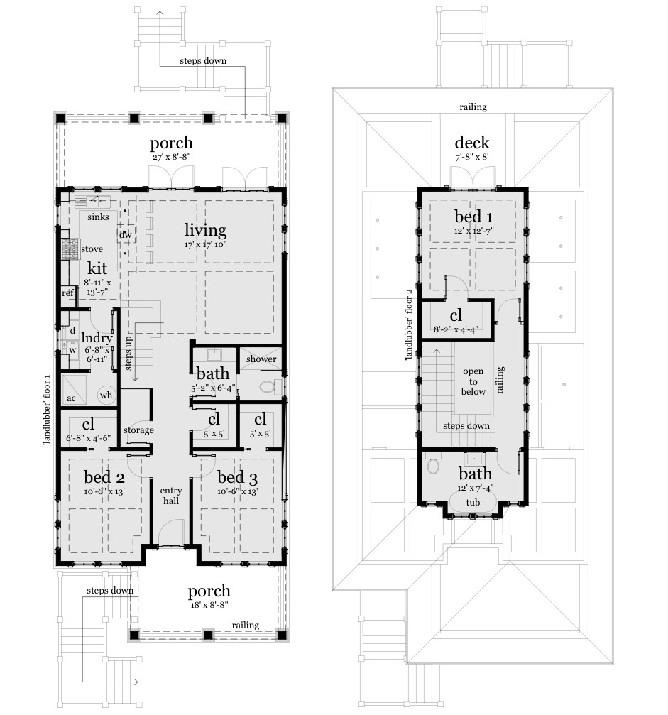 Landlubber house plan tyree house plans for 3 bedroom beach house plans