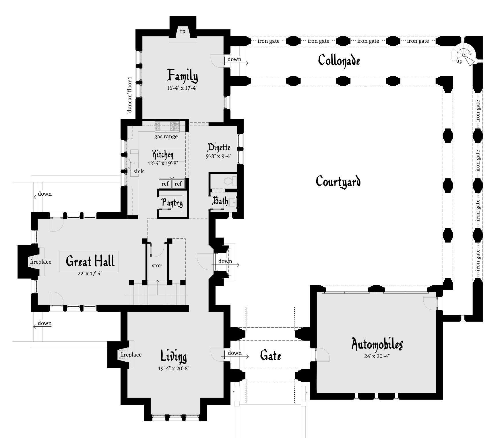 Duncan castle plan by tyree house plans for Castle home floor plans