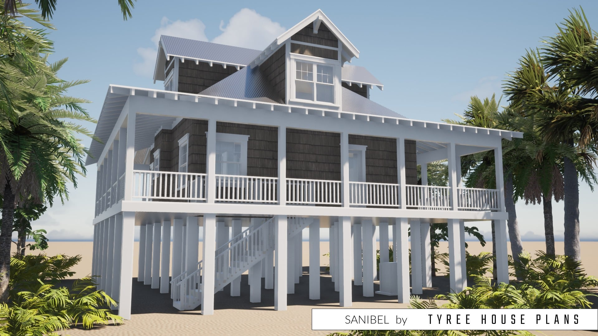 Beach House with Wrap-Around Porch. 2 Bedrooms. Tyree House Plans.