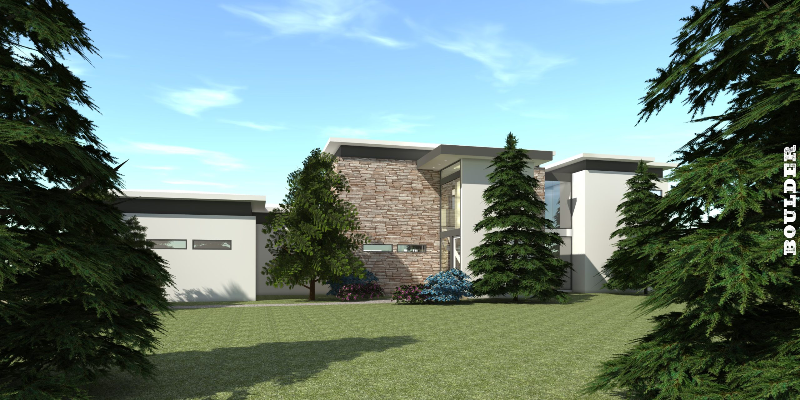4 Bedroom Modern Home with Pool Cabana. Boulder by Tyree House Plans.
