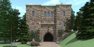 Castle Tower Home with Basement Garage. Chinook Castle by Tyree House Plans