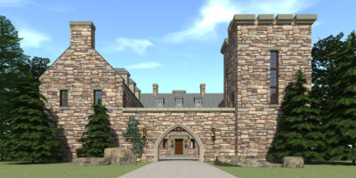 Gated Castle Tower Home. 5 Bedrooms. Darien Castle by Tyree House Plans.