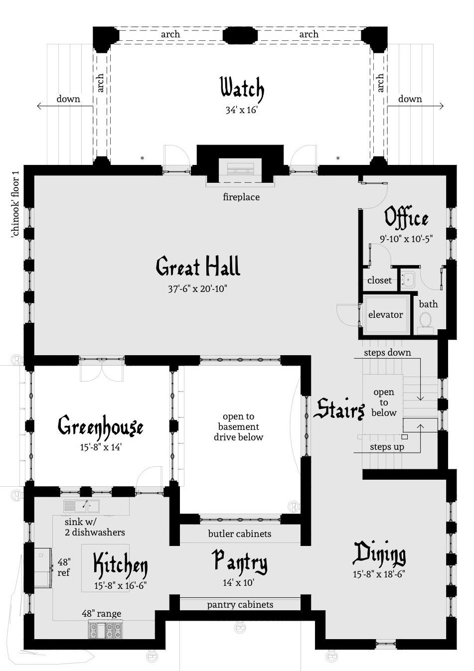 Chinook castle plan by tyree house plans for Mini castle house plans