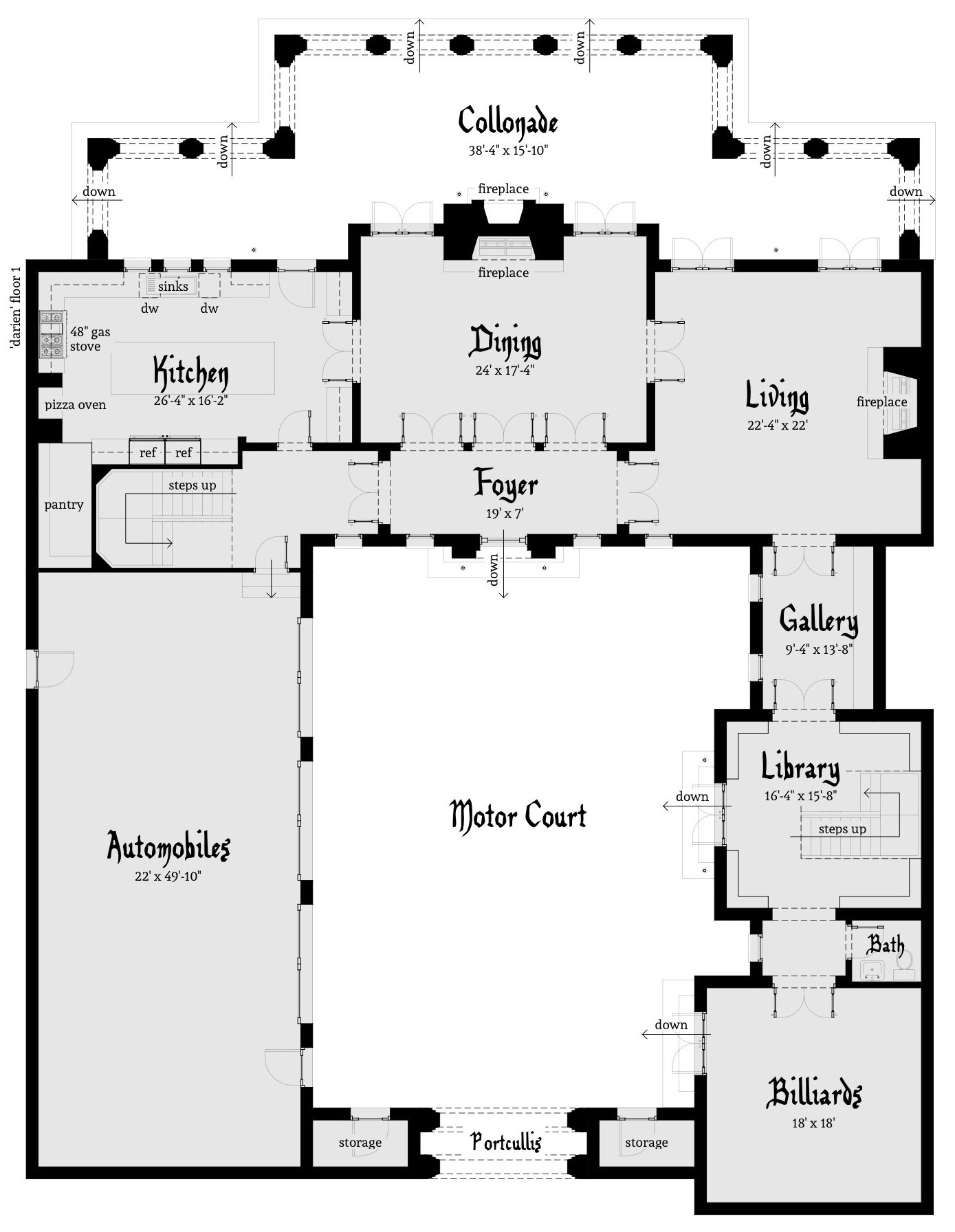 Darien castle plan tyree house plans for Castle blueprints and plans