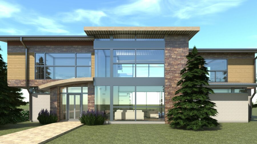 6 Bedroom Modern Home with Safe Room. Haystack by Tyree House Plans.
