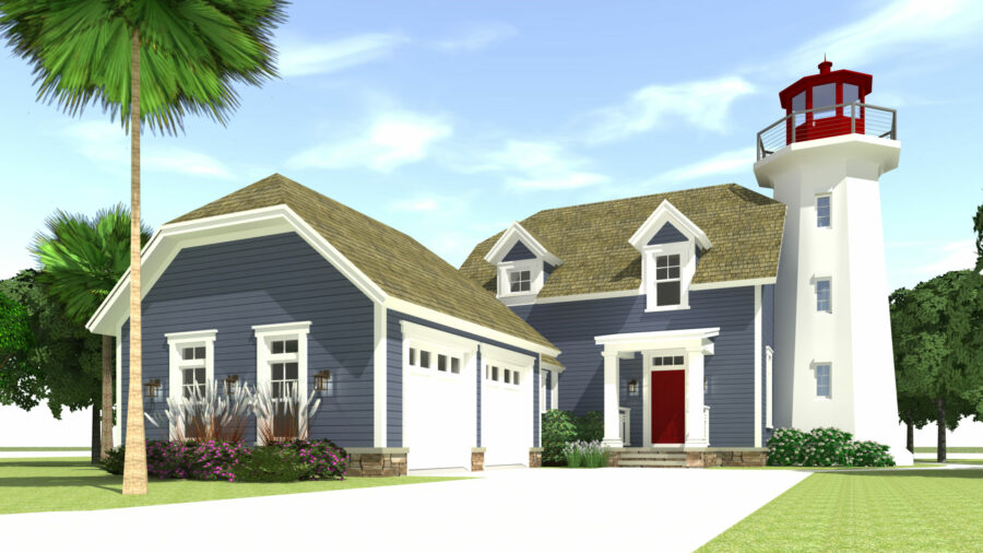 Kittee's Lighthouse - Front - Tyree House Plans