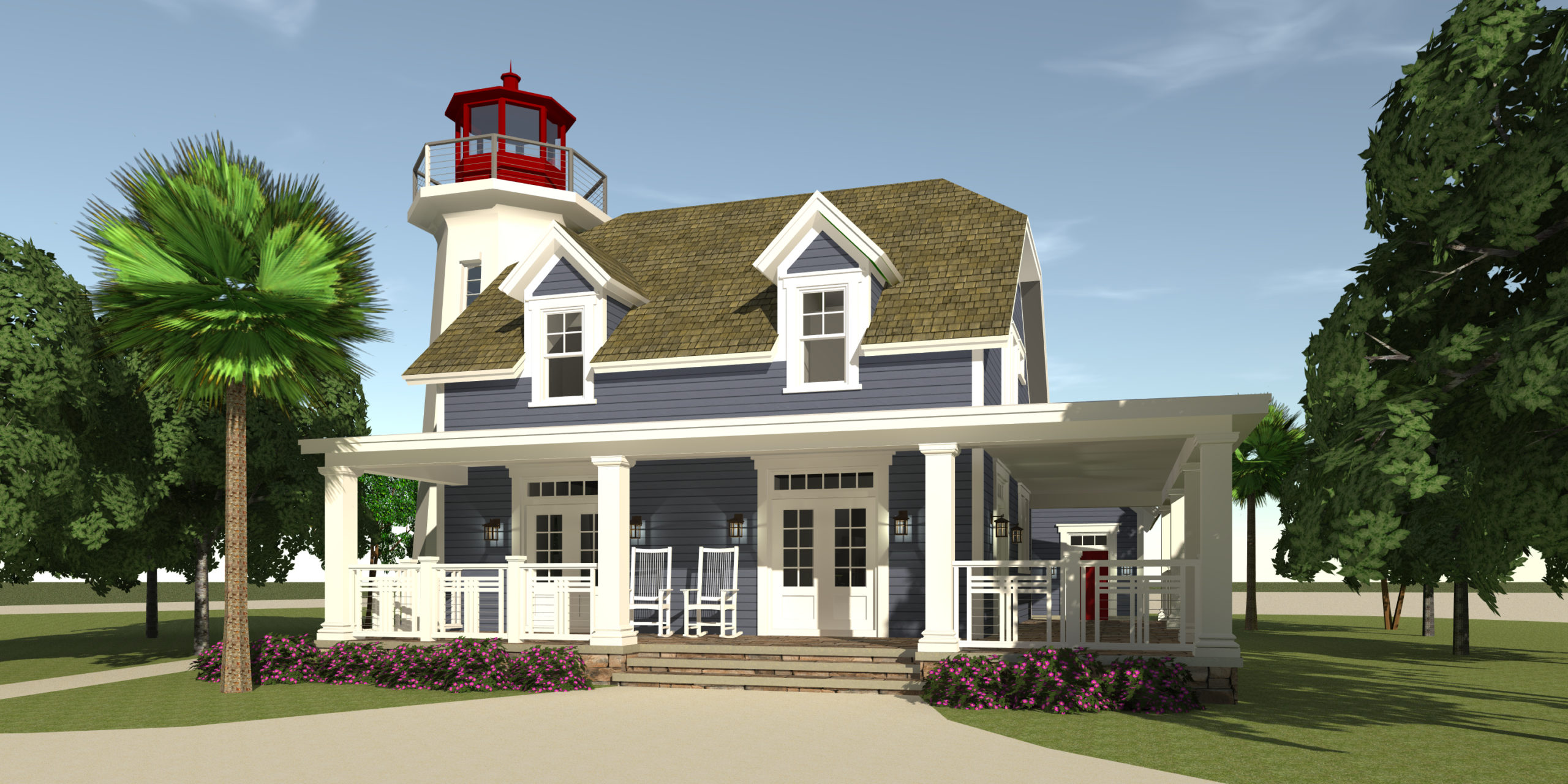 Kittee's Lighthouse - Rear Porch - Tyree House Plans