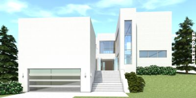 Large Modern with Waterfall Wall. 6 Bedrooms. Limestone by Tyree House Plans.