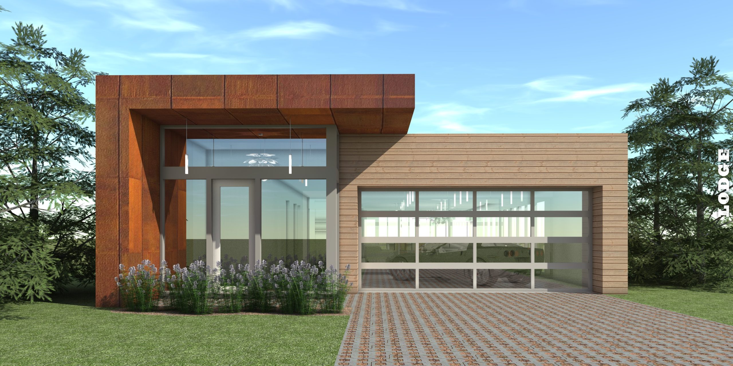 Narrow Modern with Car Showroom. 4 Bedrooms. Lodge by Tyree House Plans.
