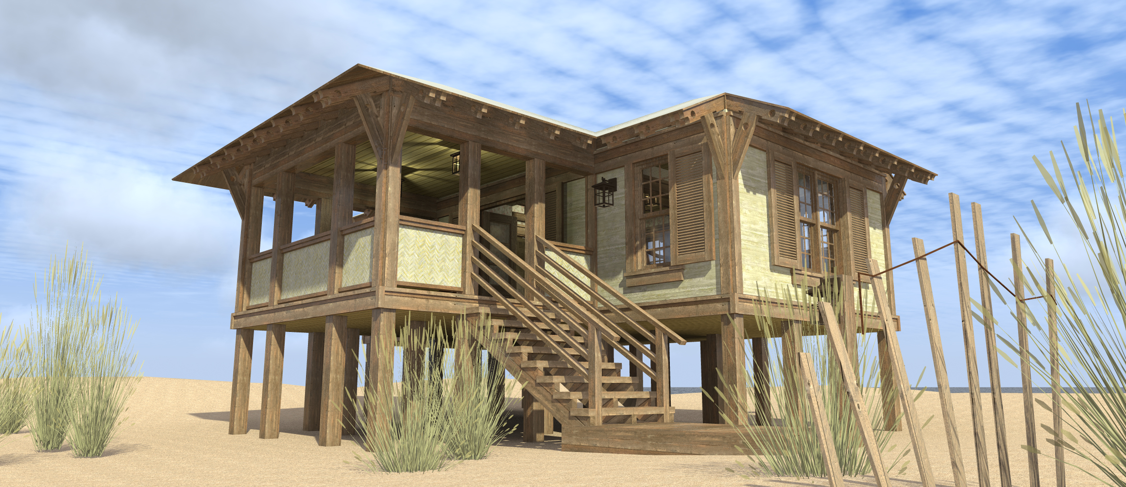 Duck blind house plan tyree house plans for Beach box house plans