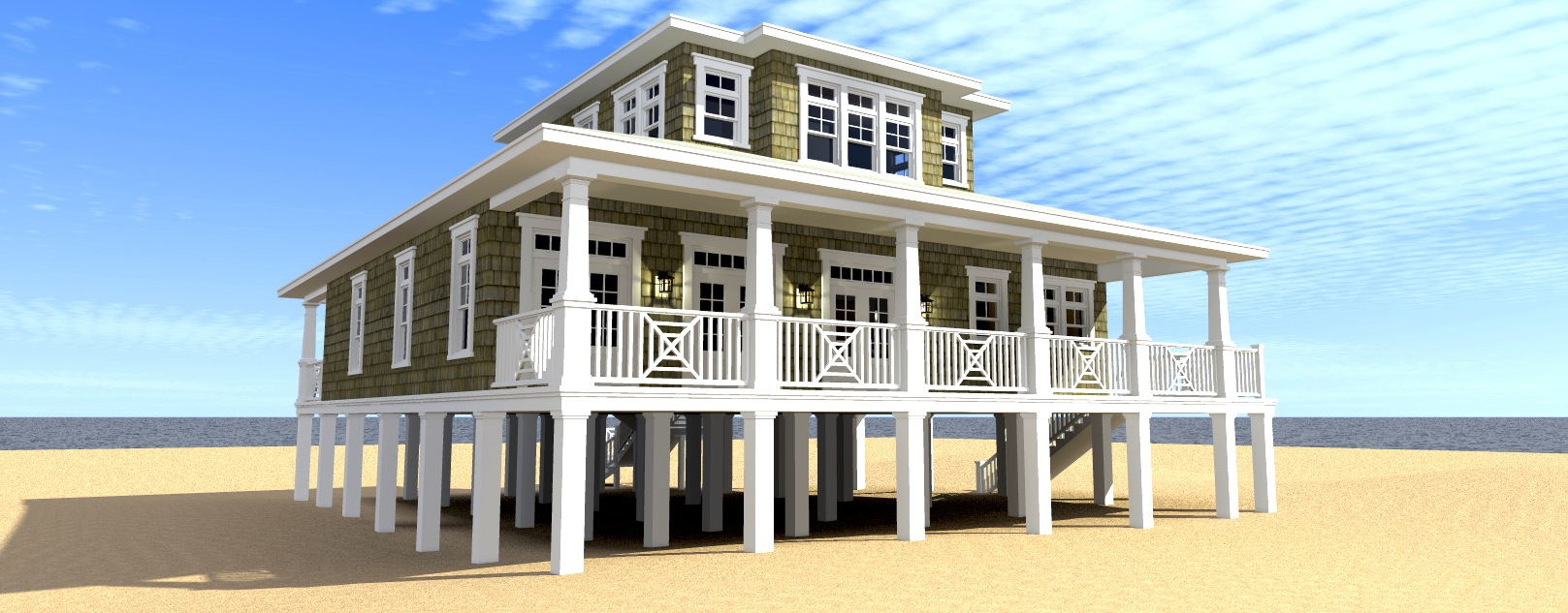 Scuppers house plan by tyree house plans for Reverse living beach house plans