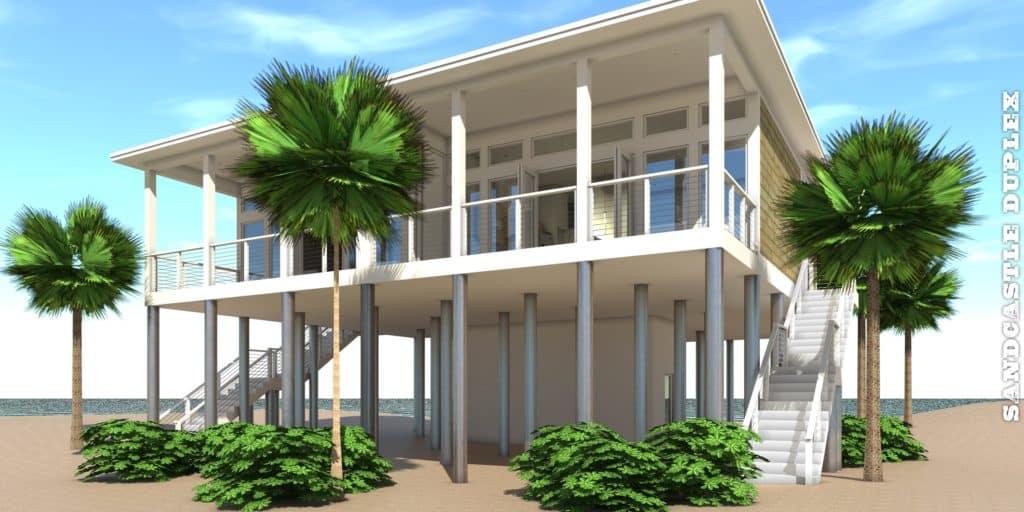 Sandcastle Duplex Plan - Tyree House Plans