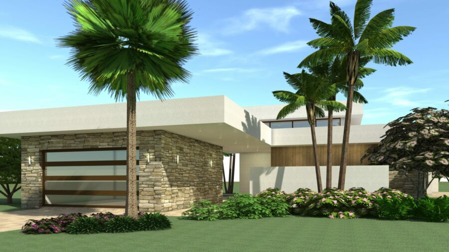Florida Style Modern Home. 4 Bedrooms. Sunrise by Tyree House Plans.