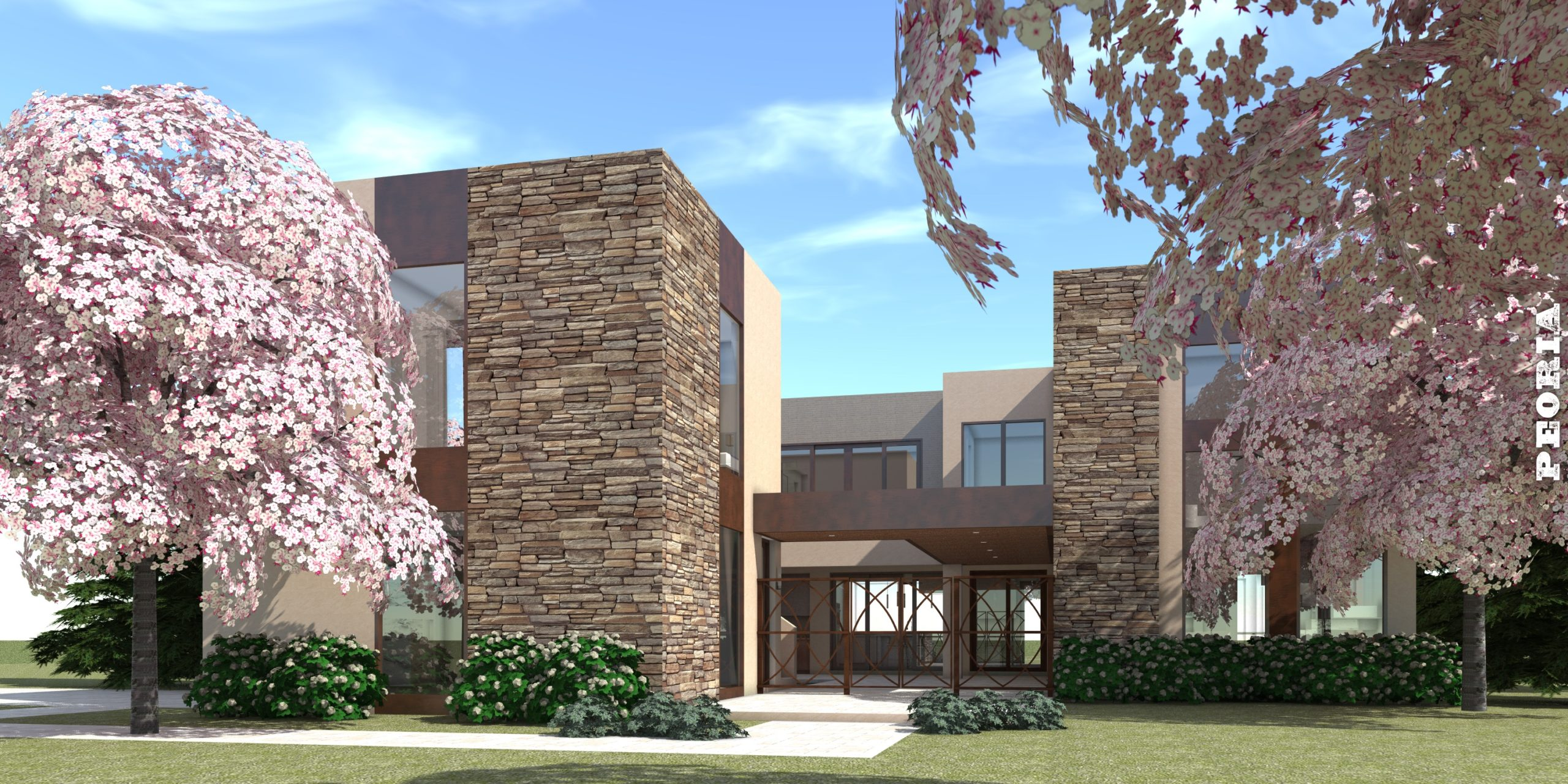 Modern Home with Outdoor Kitchen. Peoria by Tyree House Plans.