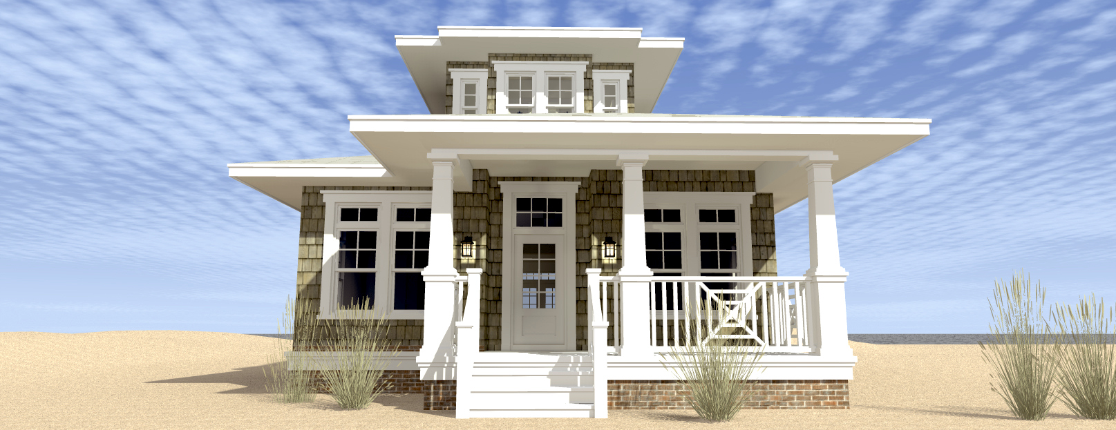 Shoreline house plan tyree house plans for Craftsman beach house plans