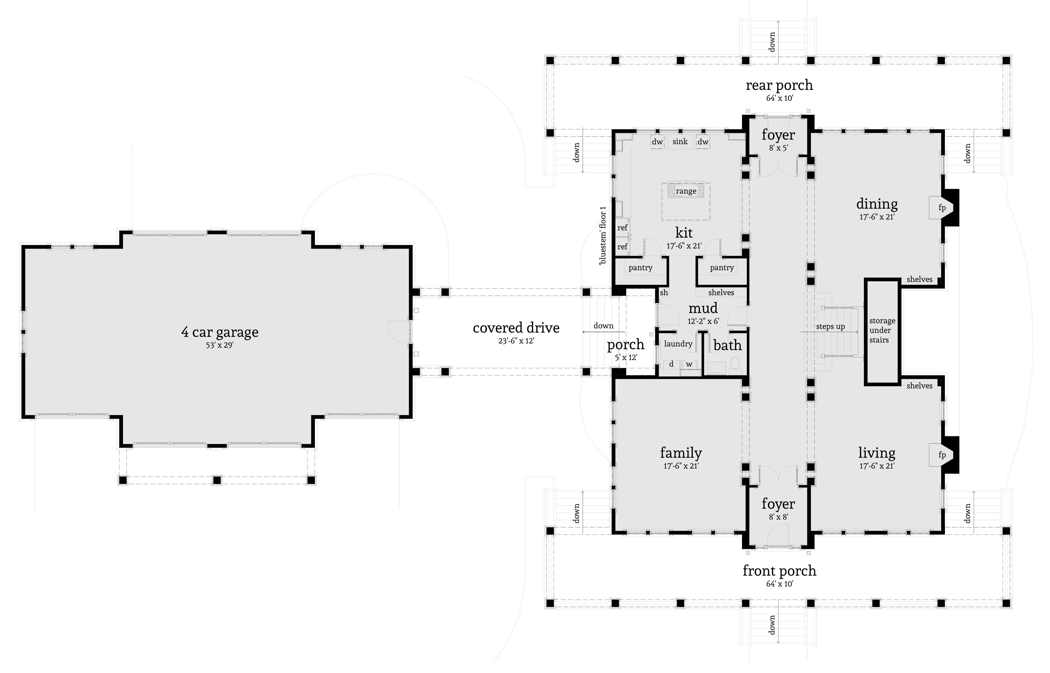 Bluestem Farmhouse Plan - 5 Beds, 5 Baths - Tyree House Plans