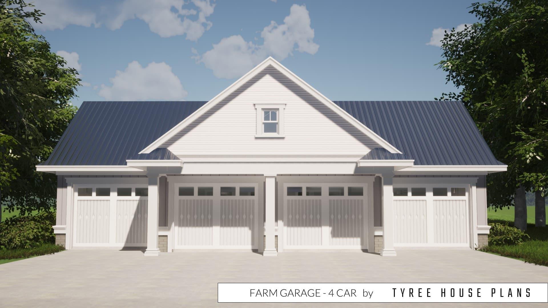 Farm Garage Plan - 4 Car by Tyree House Plans