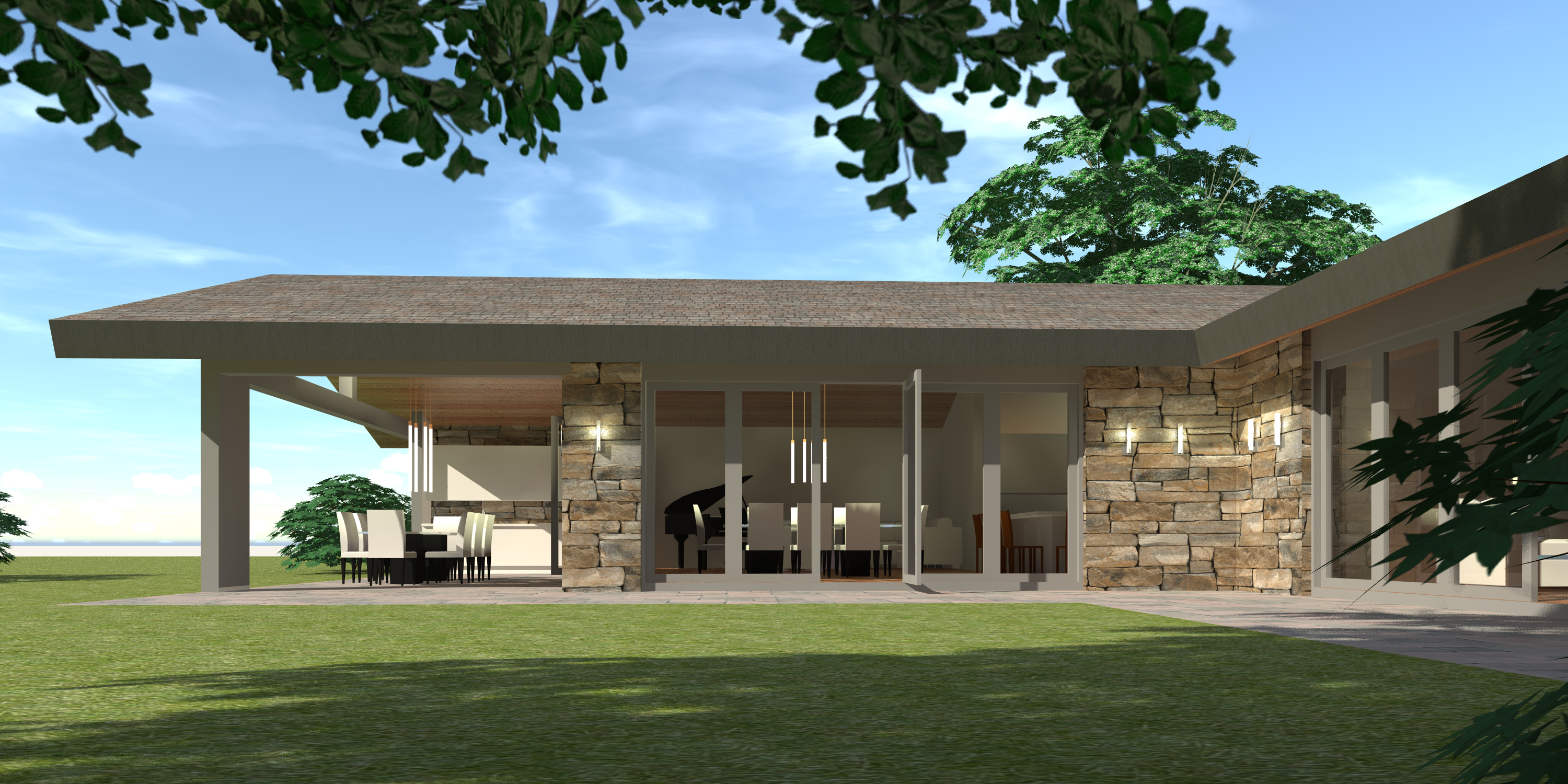 Mid-Century Ranch Home. 3 Bedrooms. Azalea by Tyree House Plans.