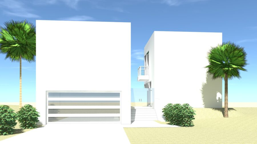 Modern with 2 Living Quarters. Tucson by Tyree House Plans.
