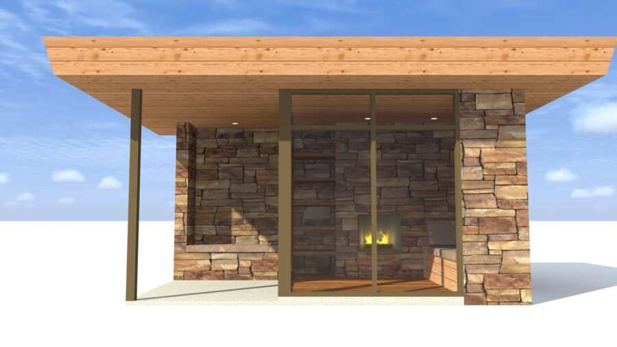 Modern Stone Outbuilding. Sooner by Tyree House Plans.