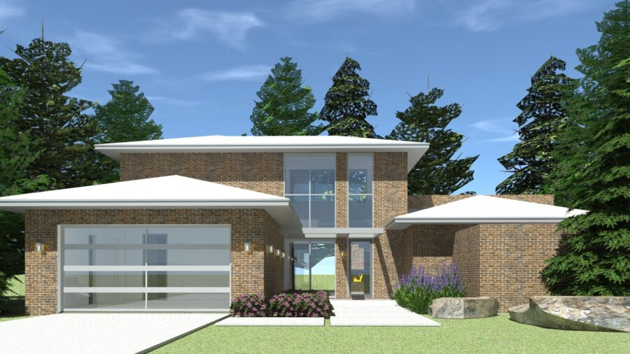 Modern Brick House with Theatre - Ganache Brick by Tyree House Plans.