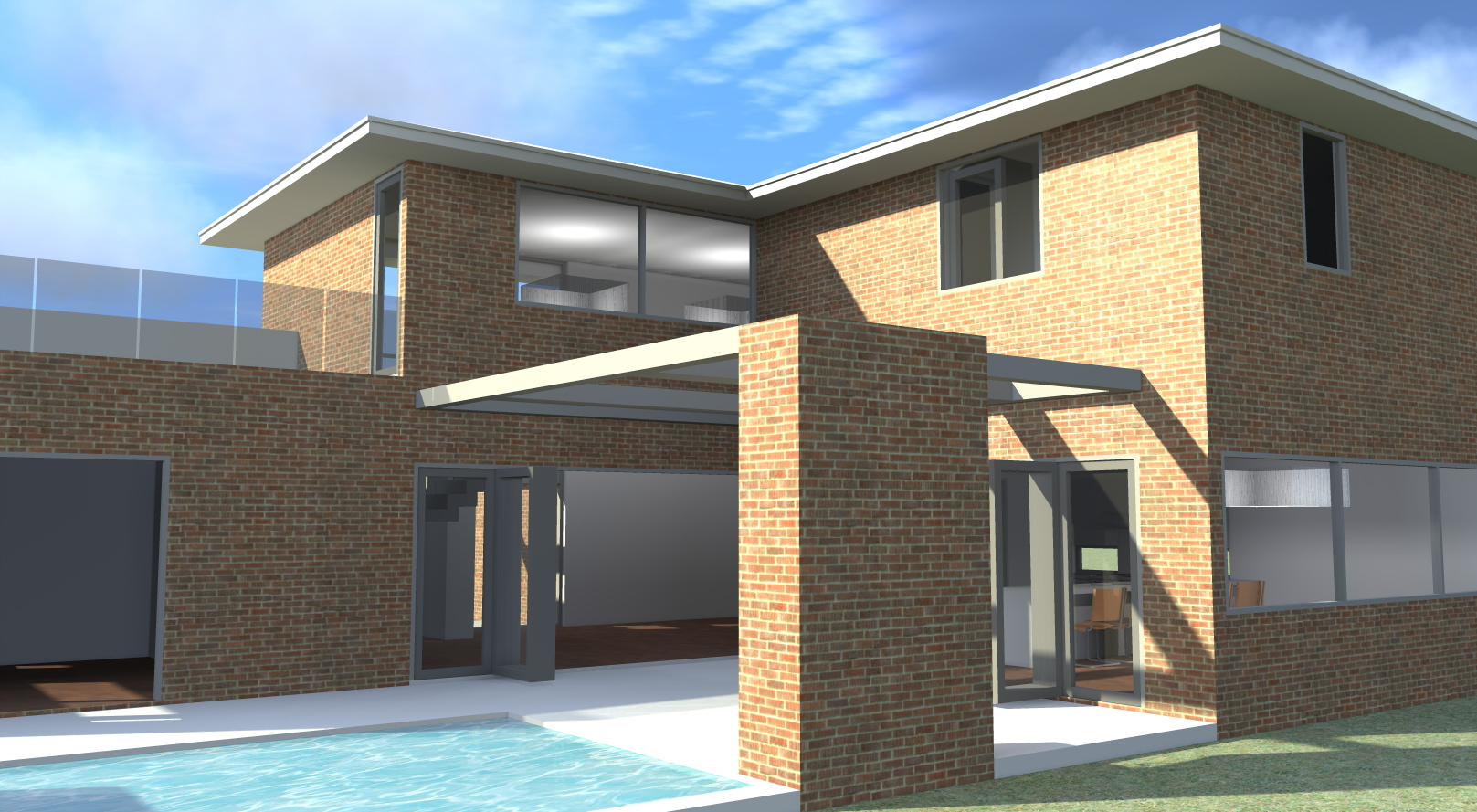 Modern Brick Home With Theatre 3 Bedrooms Tyree House Plans