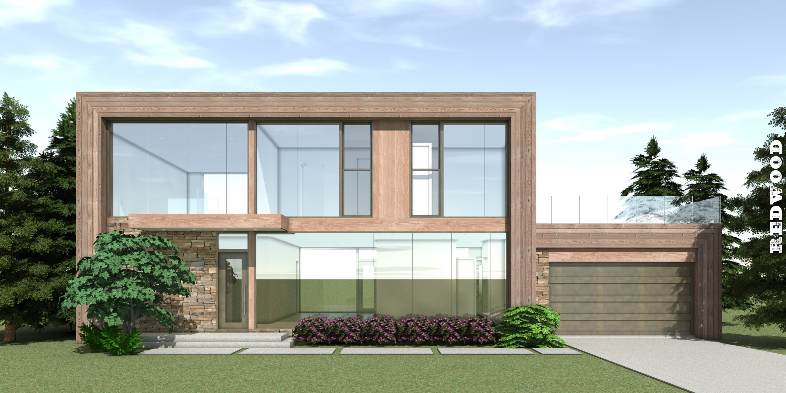 Warm Modern with 4 Bedrooms. Redwood by Tyree House Plans.