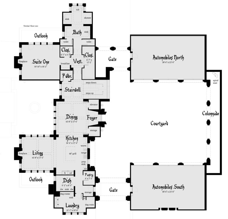 Declan Castle Plan - First Floor - Tyree House Plans