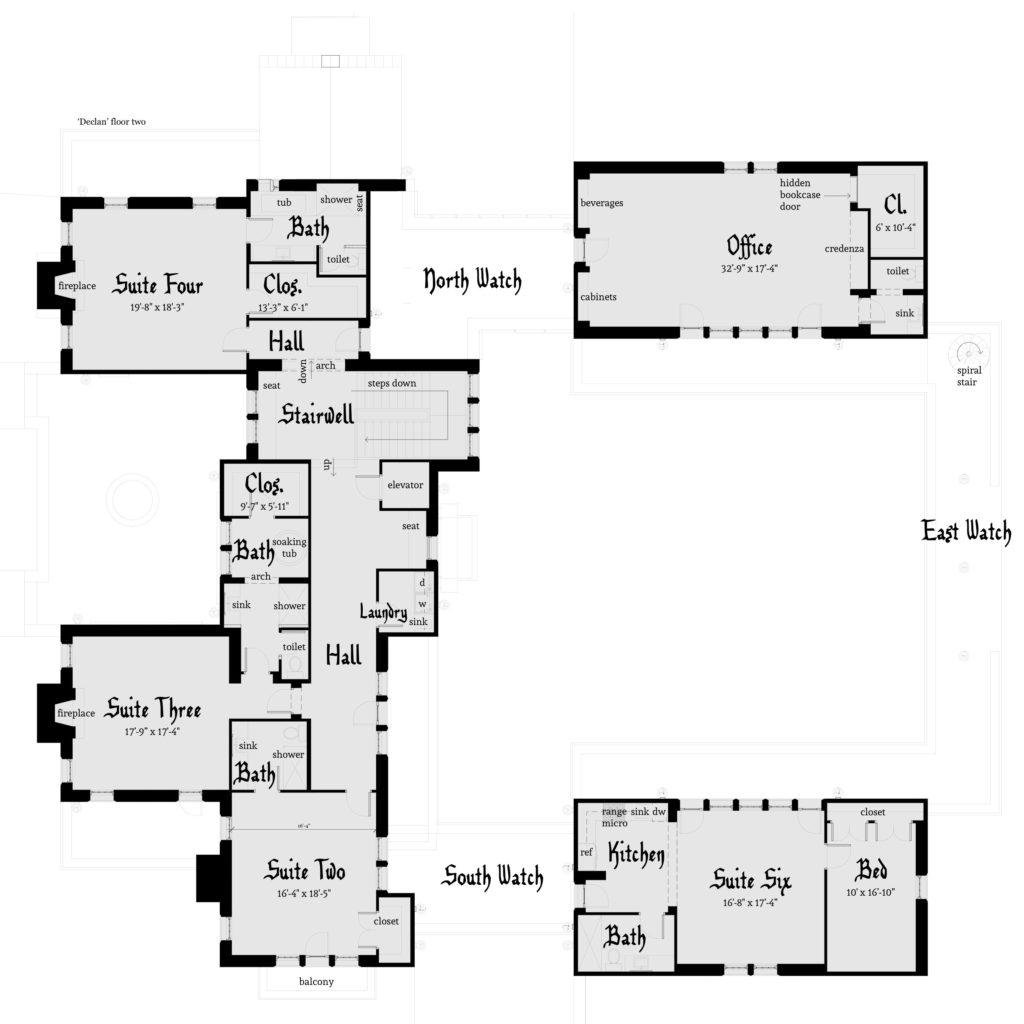 Declan Castle Plan - Second Floor - Tyree House Plans