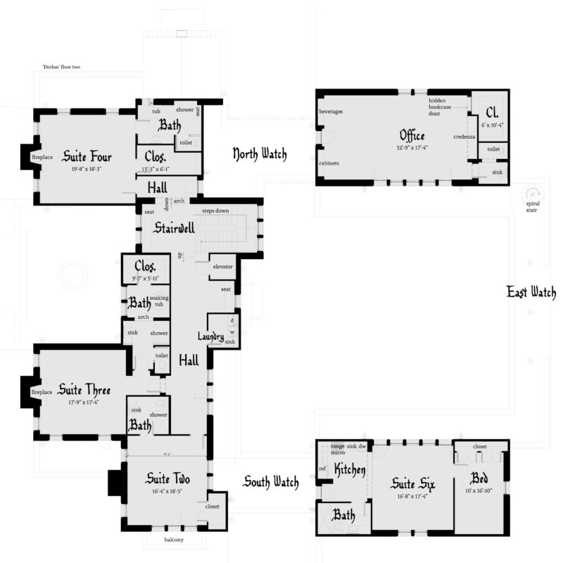 Declan Castle Plan - Second Floor - Tyree House Plans