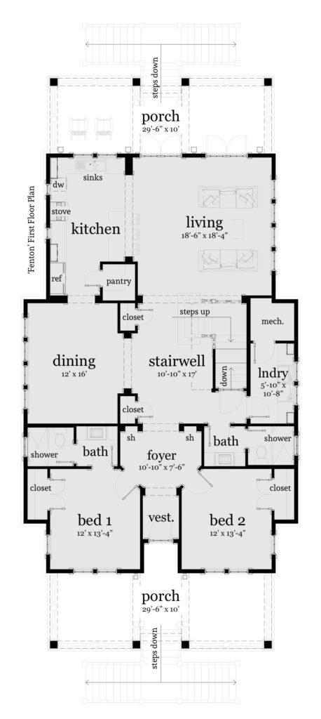 Floor 1 - Fenton House Plan - Tyree House Plans