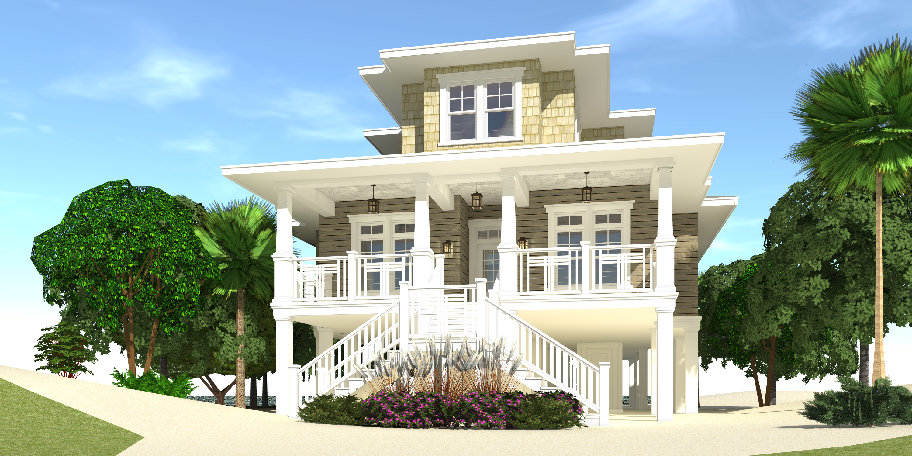 Fenton house plan tyree house plans for Beach style home designs