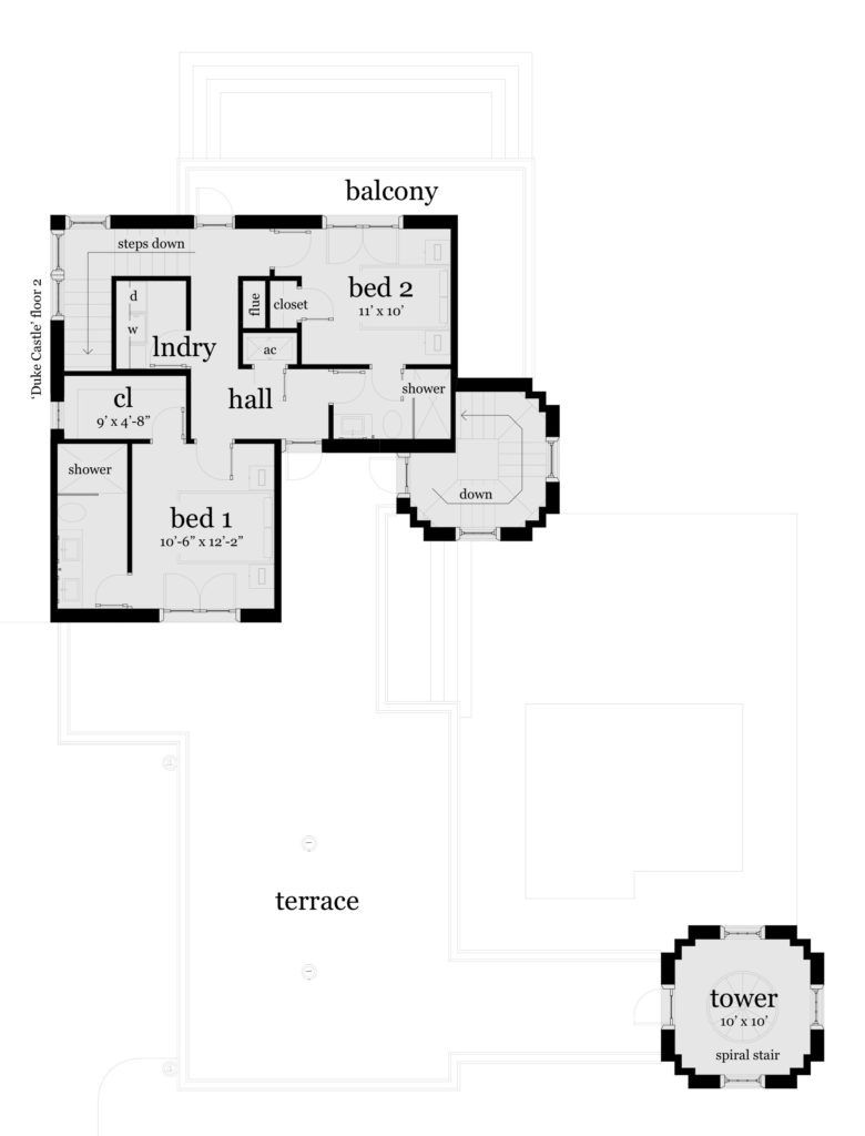 Floor 2 - Duke Castle Plan - Tyree House Plans