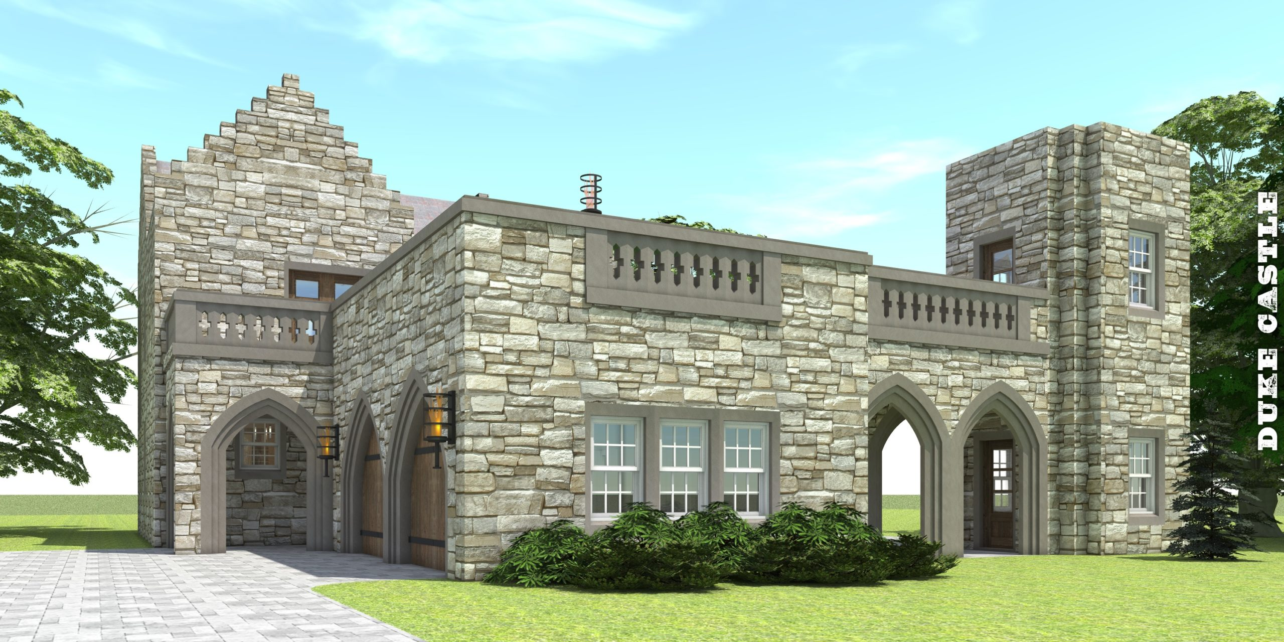 Castle Home with 2 Stair Towers. Duke Castle by Tyree House Plans.