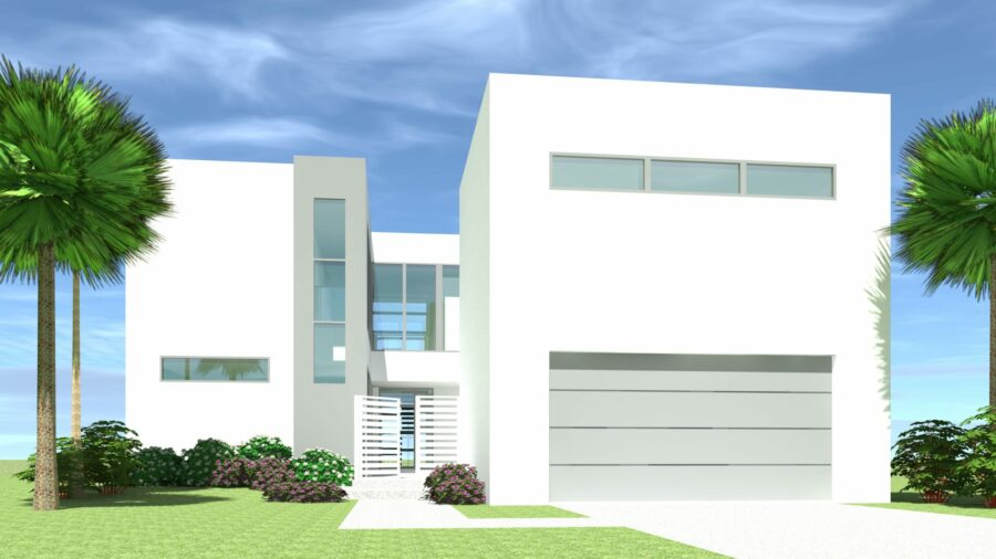 Modern Courtyard Home. Waterfront Design. Avenue by Tyree House Plans.