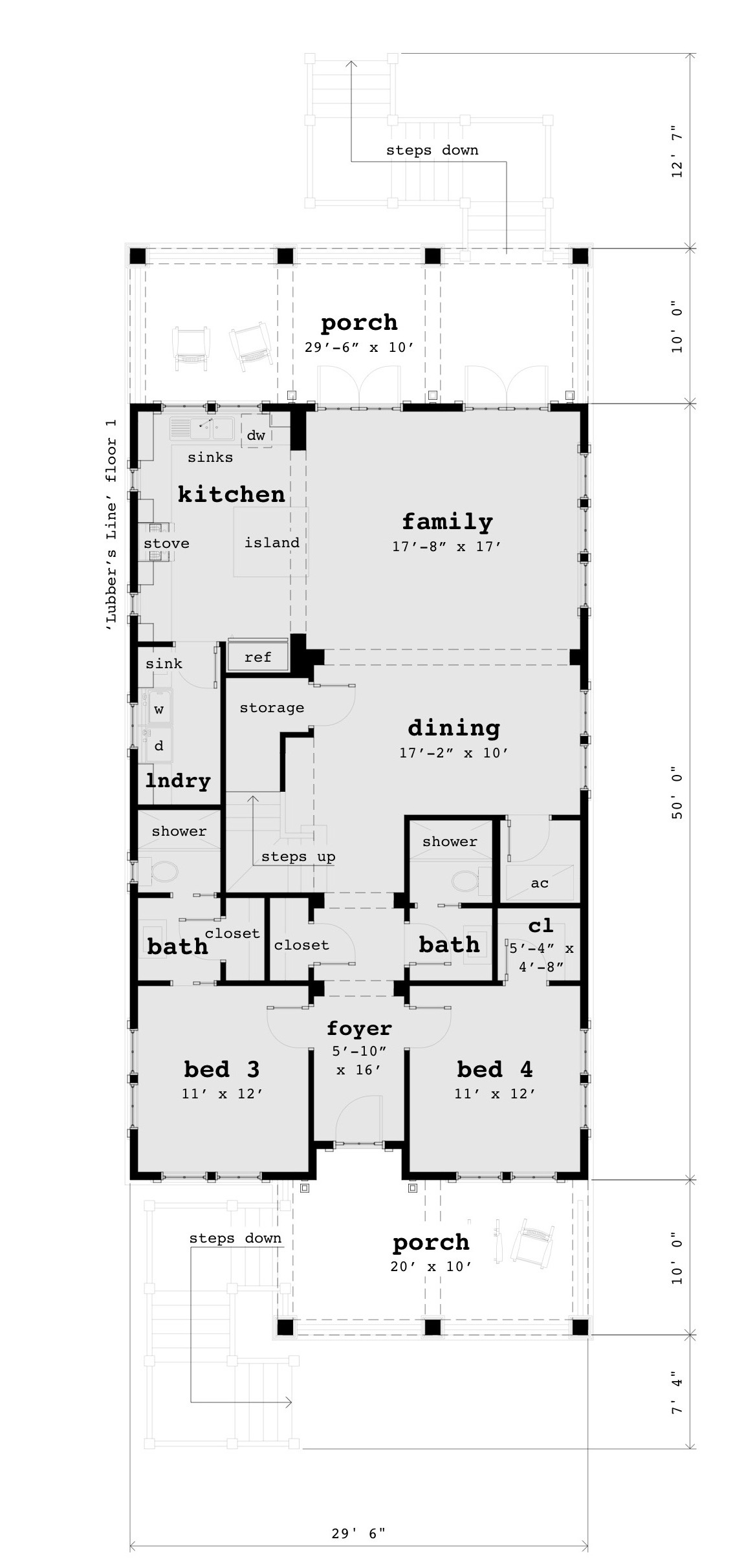 First Floor - Lubber's Line House Plan - Tyree House Plans