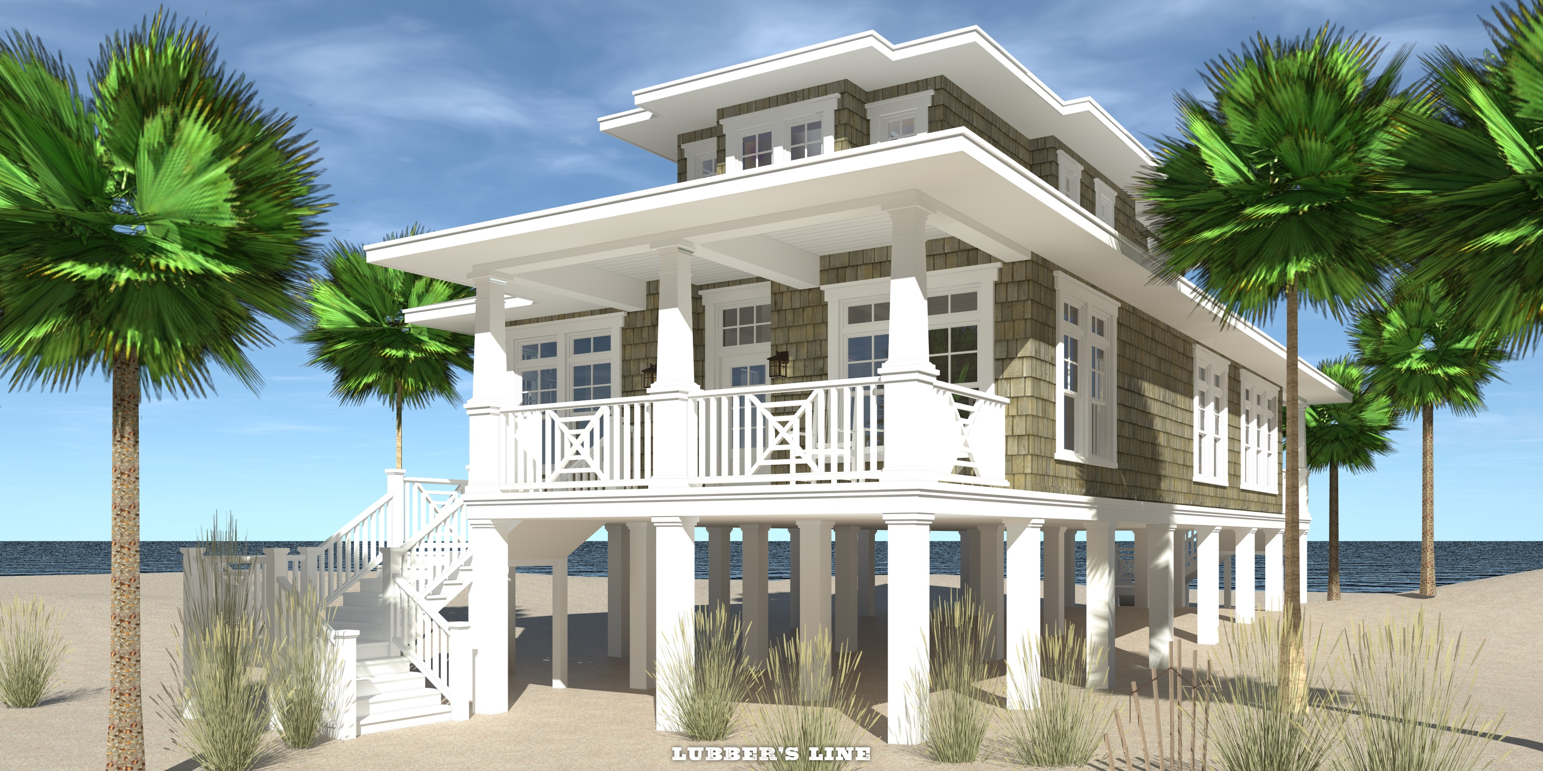 Beach house plans with front view for Coastal style house plans