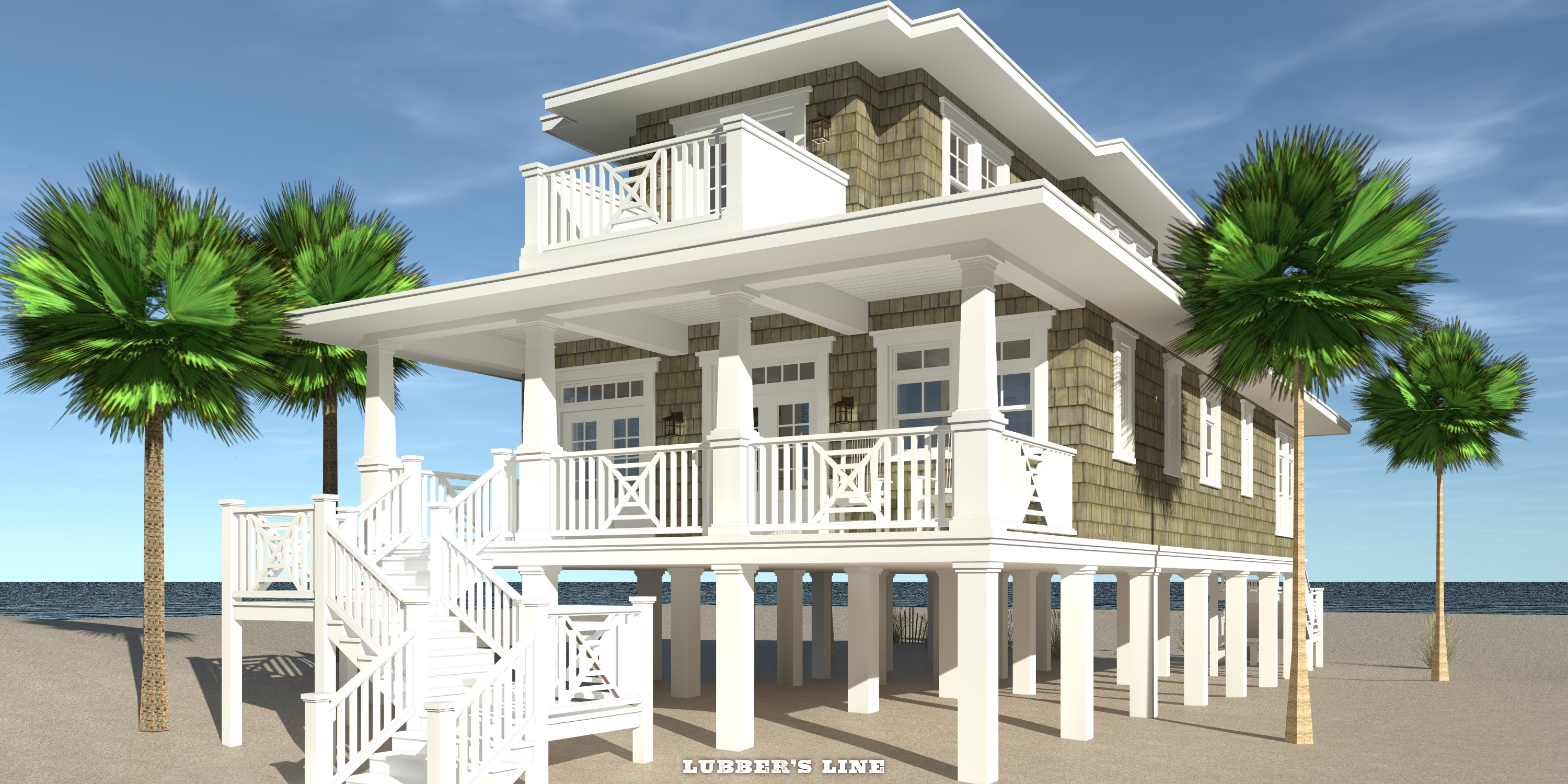 Rear View - Lubber's Line House Plan - Tyree House Plans
