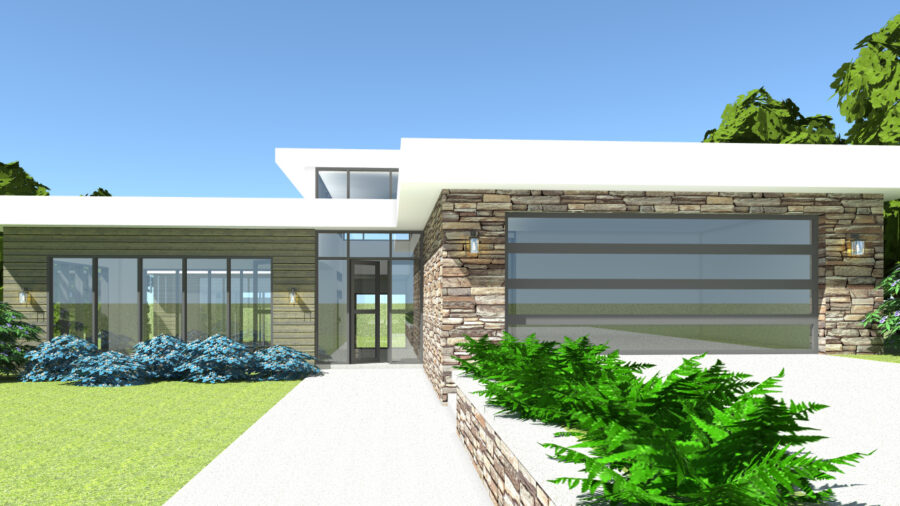 3 Bedroom Mid-Century Modern. Searcy by Tyree House Plans.