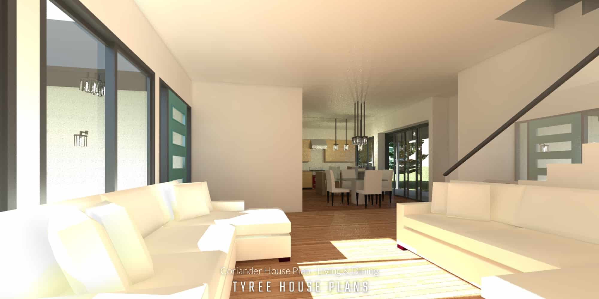 Living & Dining - Coriander House Plan by Tyree House Plans