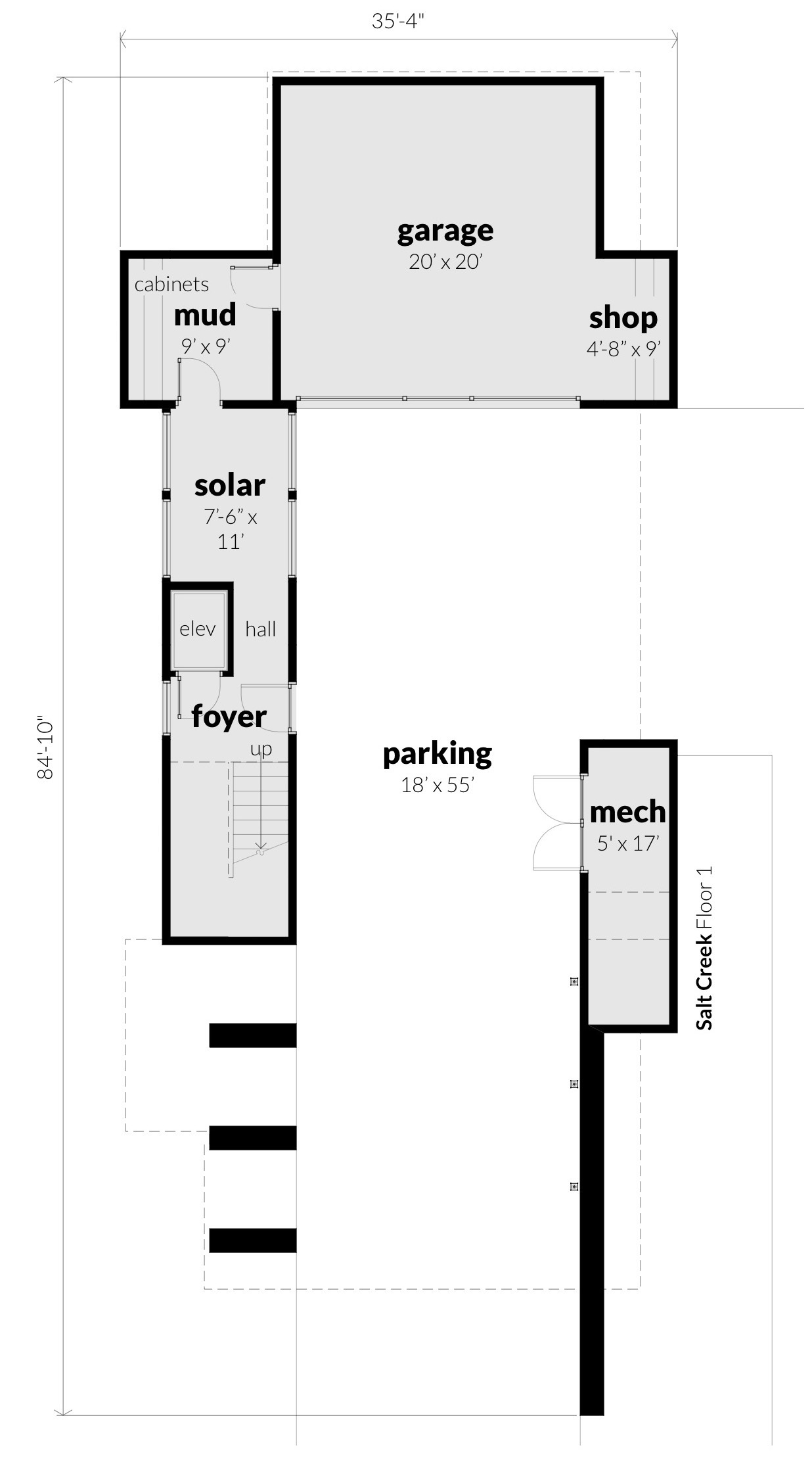 Floor 1, Salt Creek House Plan by Tyree House Plans