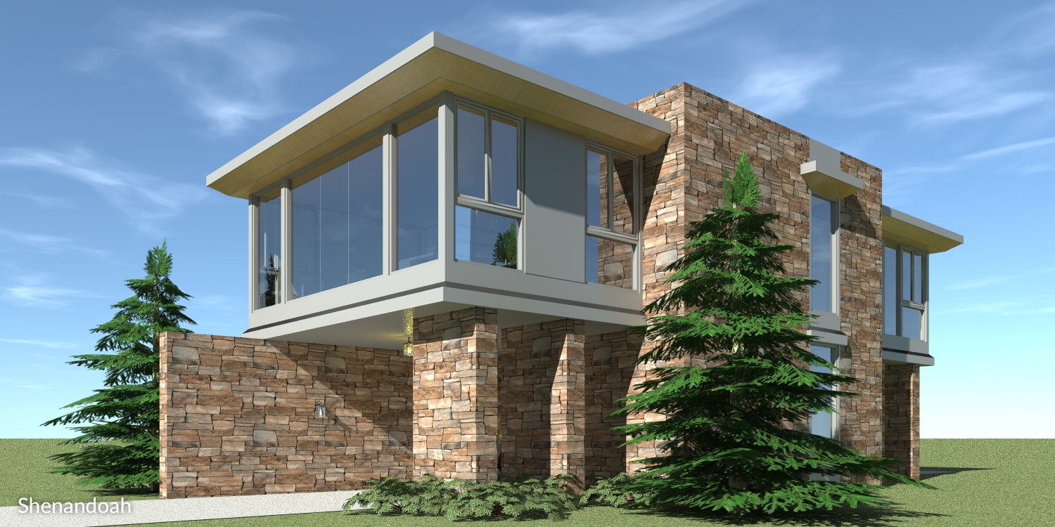 Cantilever Modern Home. 1 Bedroom. Shenandoah by Tyree House Plans.
