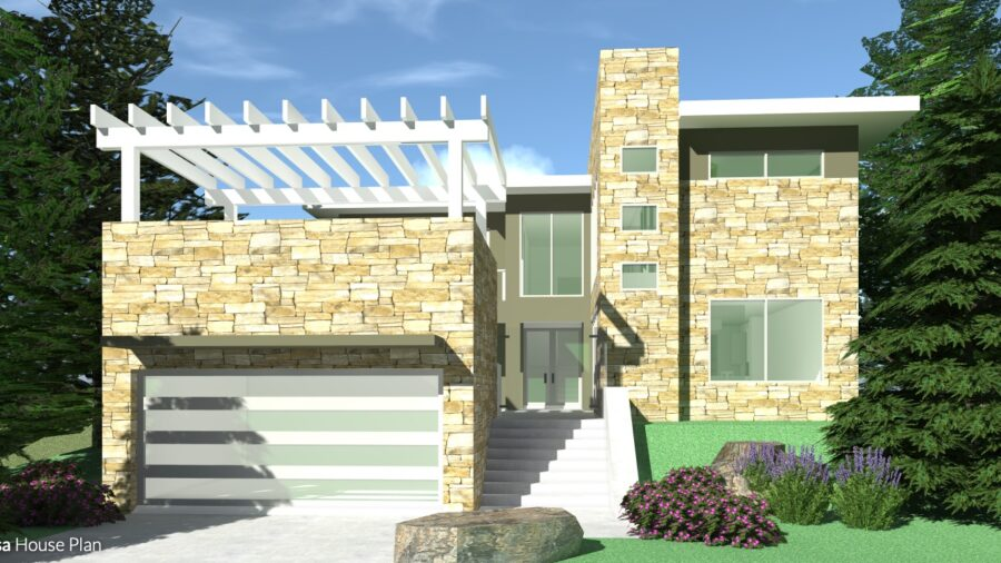 Modern Courtyard Home with Rooftop Terrace. Odessa by Tyree House Plans.