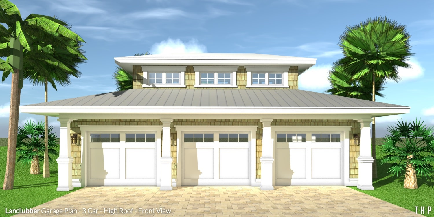 Landlubber Garage Plan - 3 Car - High Roof