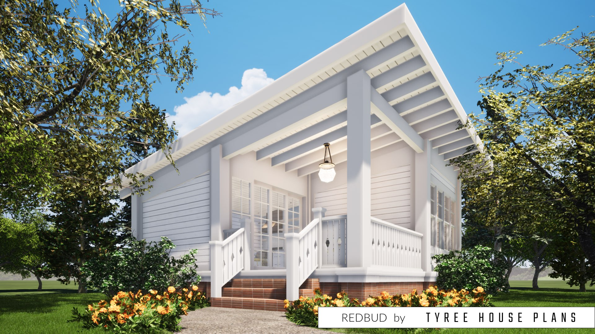 Front of House - Redbud House Plan by Tyree House Plans