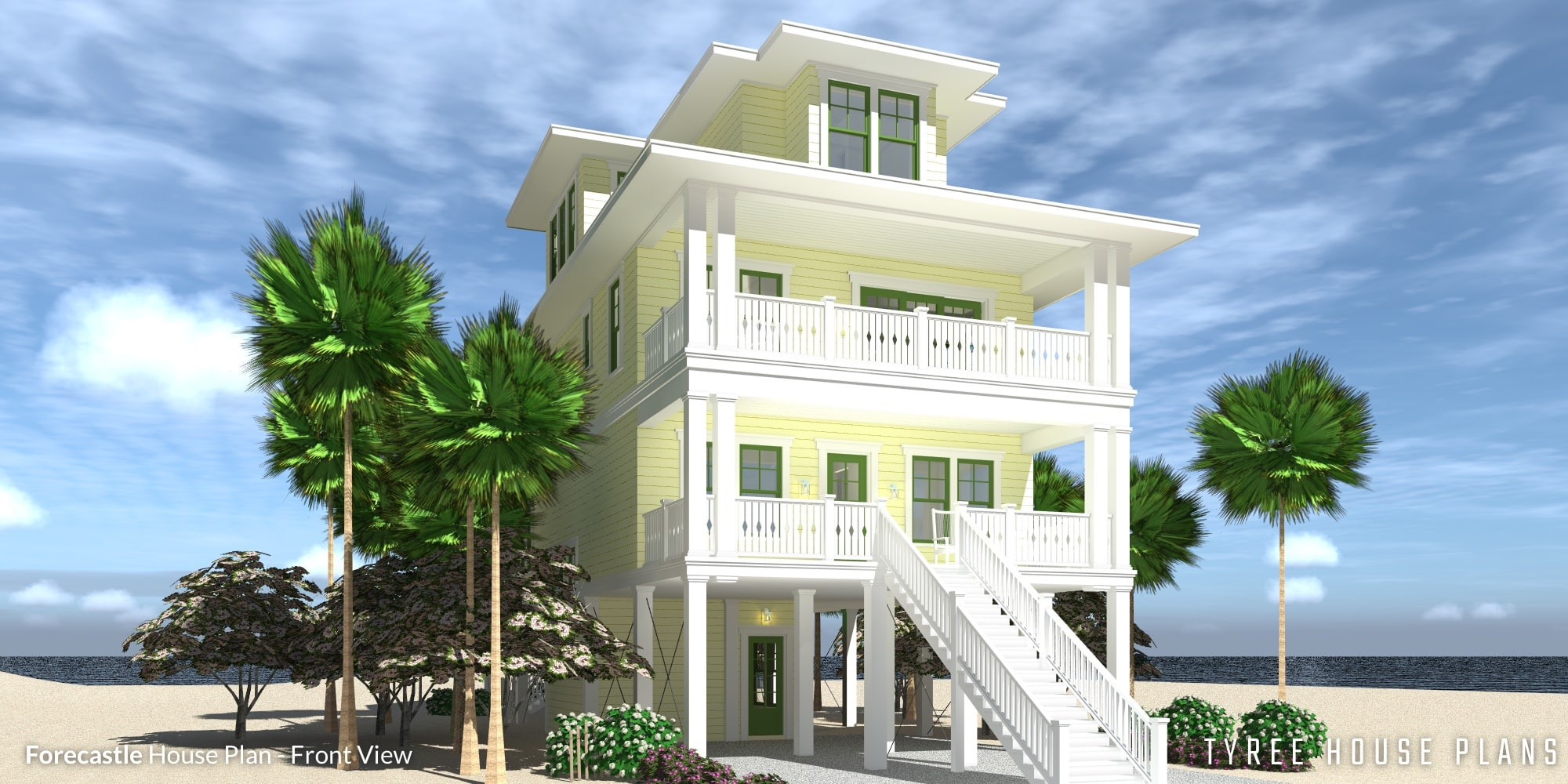 Front View - Forecastle House Plan by Tyree House Plans