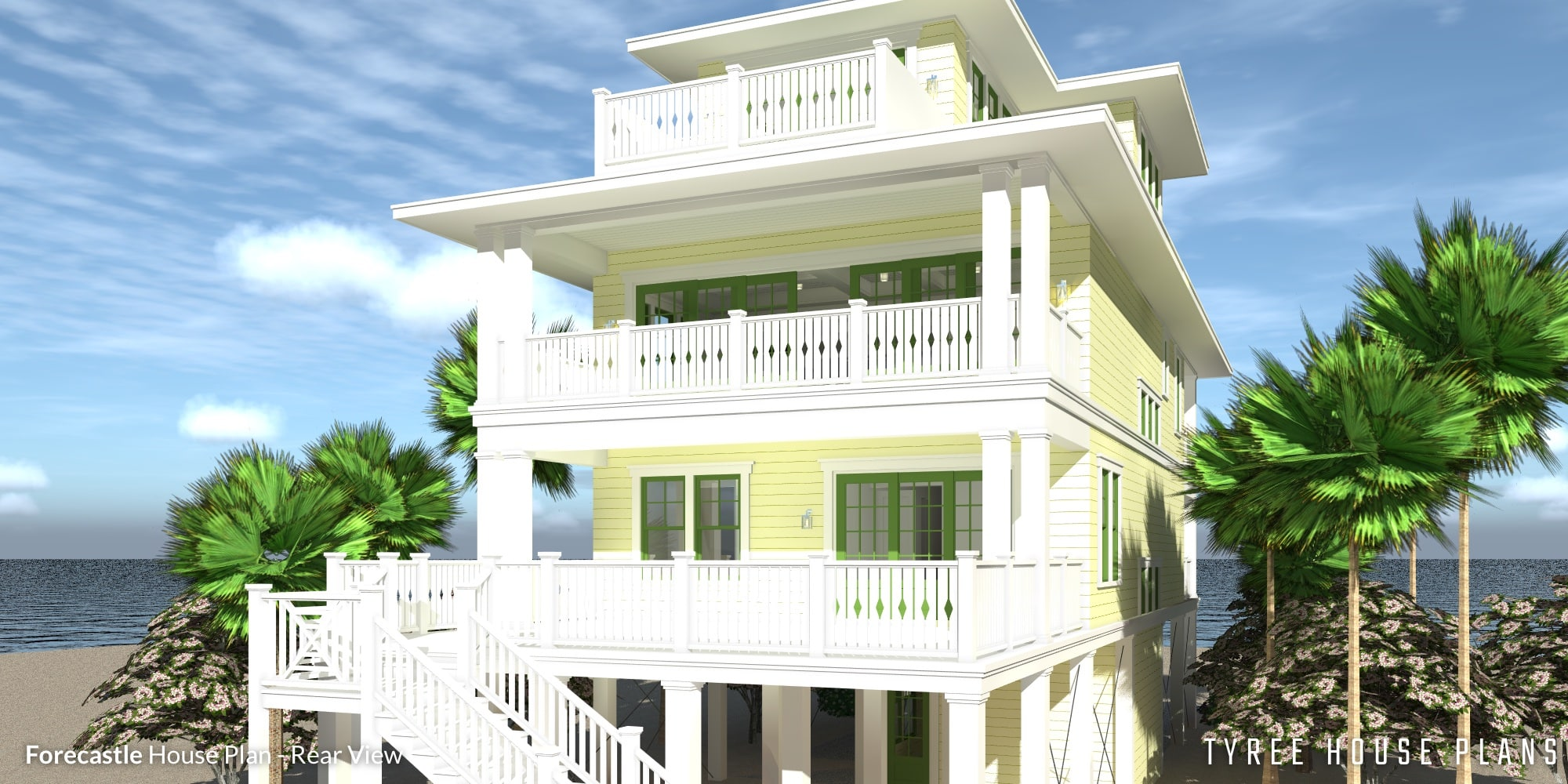 Rear View - Forecastle House Plan by Tyree House Plans