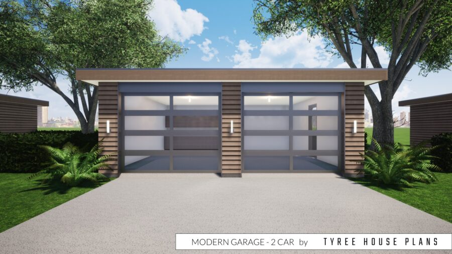 Modern Garage - 2 Car by Tyree House Plans