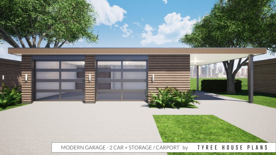 Modern Garage - 2 Car plus Storage and Carport by Tyree House Plans