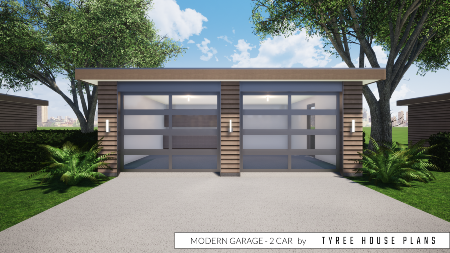 Modern Garage Plan - 2 Car by Tyree House Plans